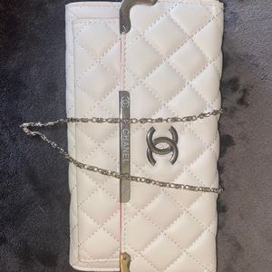 Chanel Pink and White Clutch with removable chain